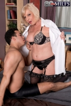 She's banging him. She's old sufficient to be his grandmother